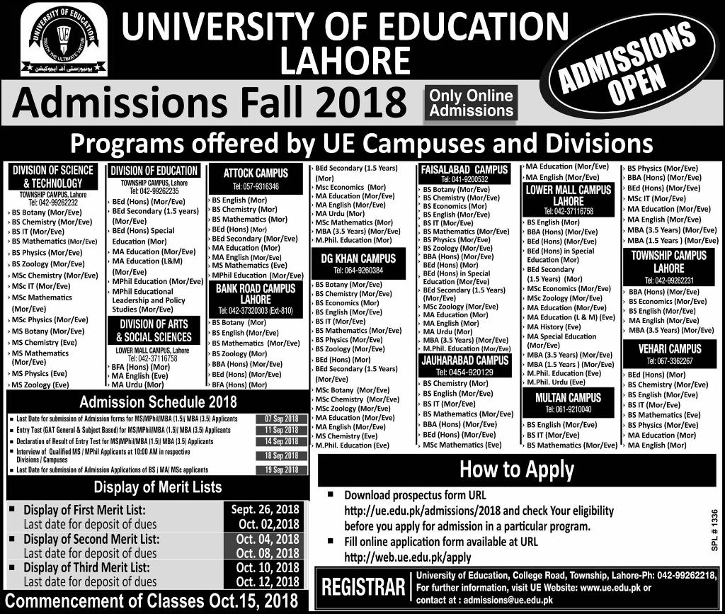 University of Education Lahore Admissions Fall 2018 Form