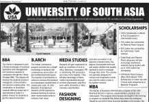 University of South Asia Admissions 2019