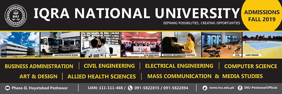 Iqra National University Peshawar Admission 2019
