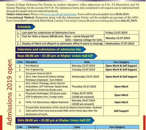 Islamia College Peshawar Admission 2019 Form, Merit list