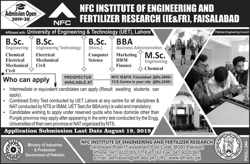 NFC Institute Of Engineering & Fertilizer Research Faisalabad Admissions 2019