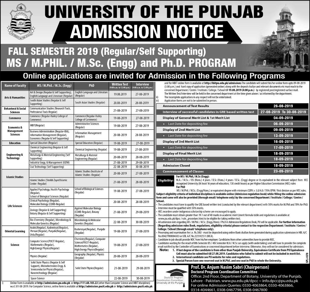 Punjab University Entry Test Schedule 2019