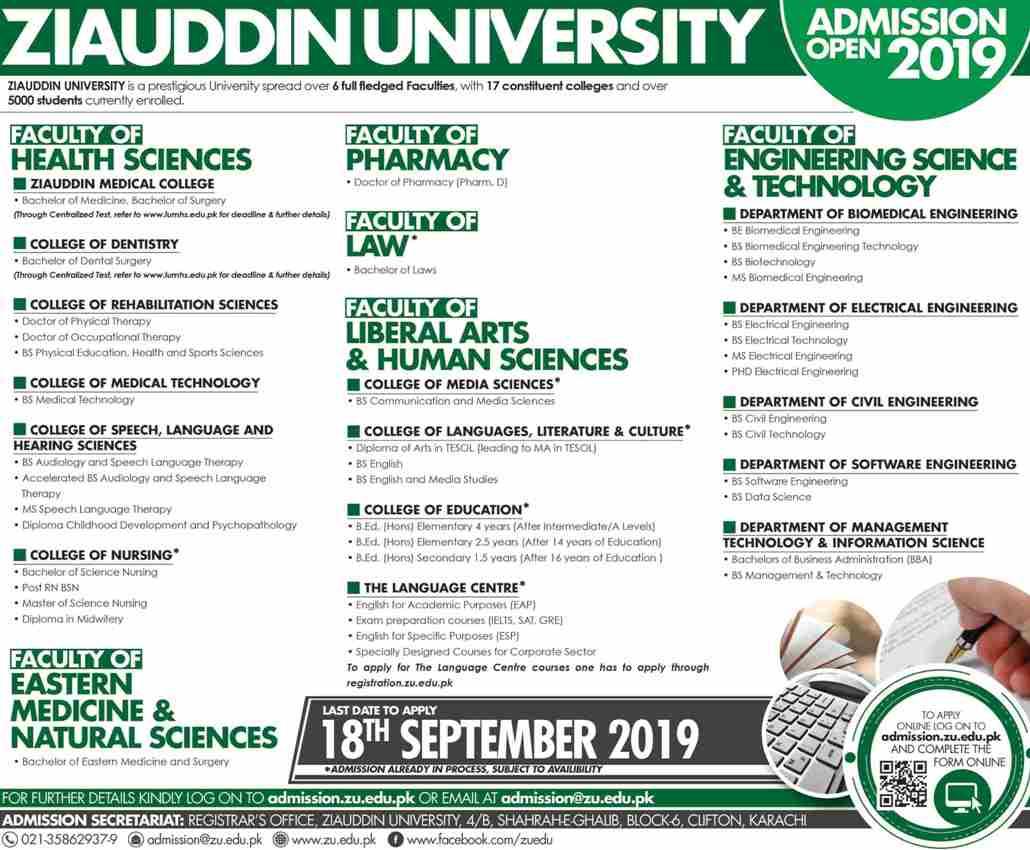 Ziauddin University Karachi Engineering Admission 2019