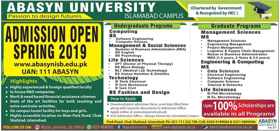 Abasyn University Islamabad Admission 2019 Form