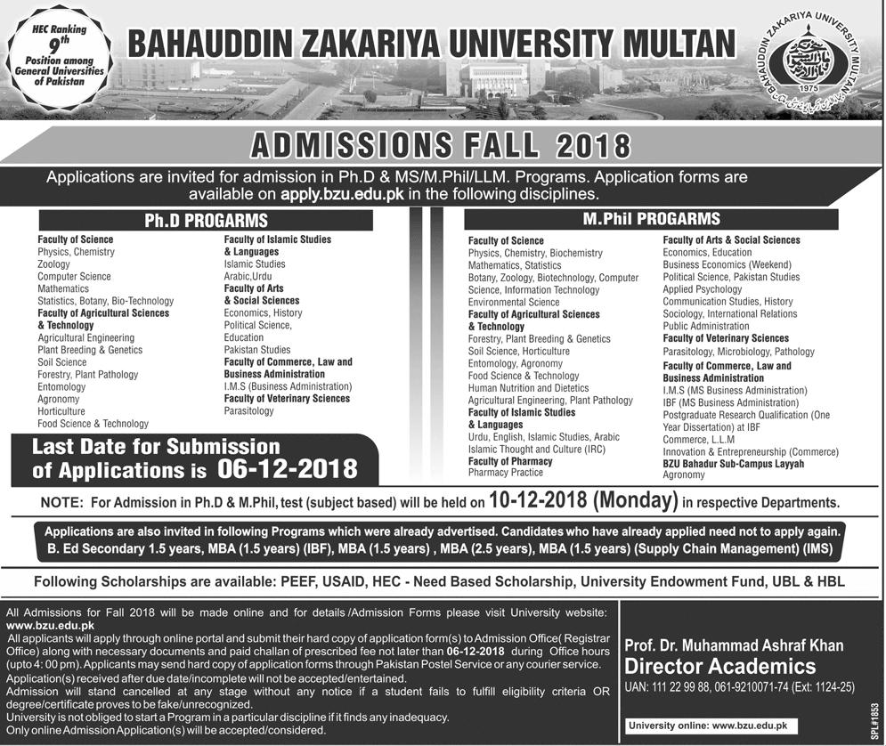 BZU Multan Mphil, Ph.D Admissions Fall 2018 Form