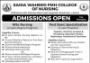 Saida Waheed FMH College of Nursing Admission 2019 Form, Last Date