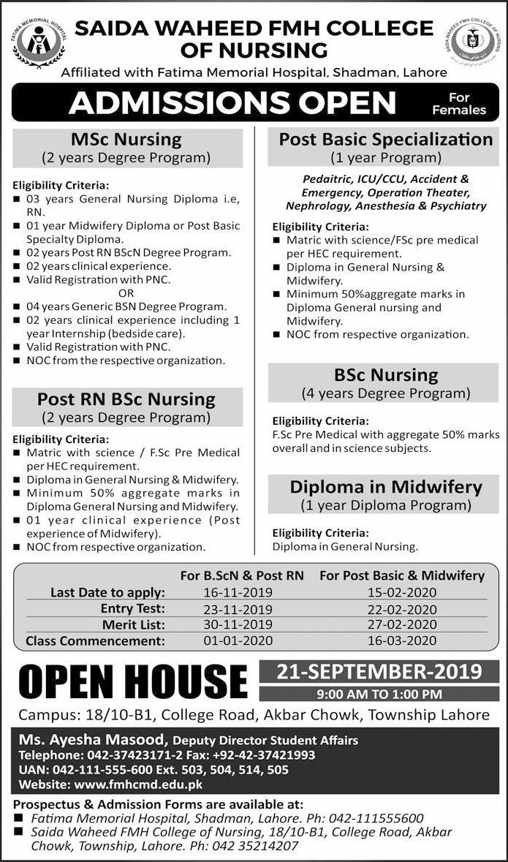 Saida Waheed FMH College of Nursing Admission 2019 Form, Last Date