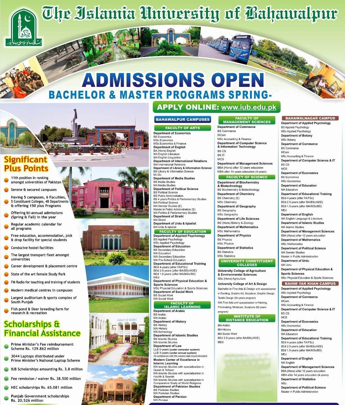 Islamia University of Bahawalpur IUB Spring Admission 2019 Form