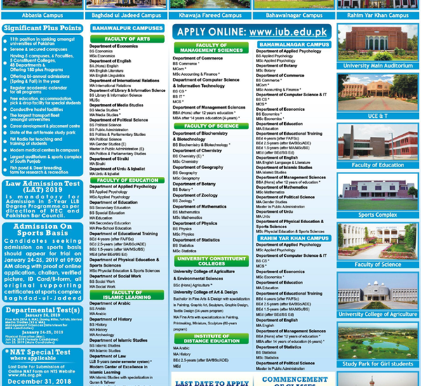 Islamia University Of Bahawalpur IUB Admission 2019 Form