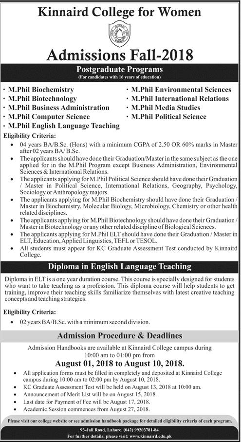 Kinnaird College Postgraduate Admissions 2018 M.Phil Form