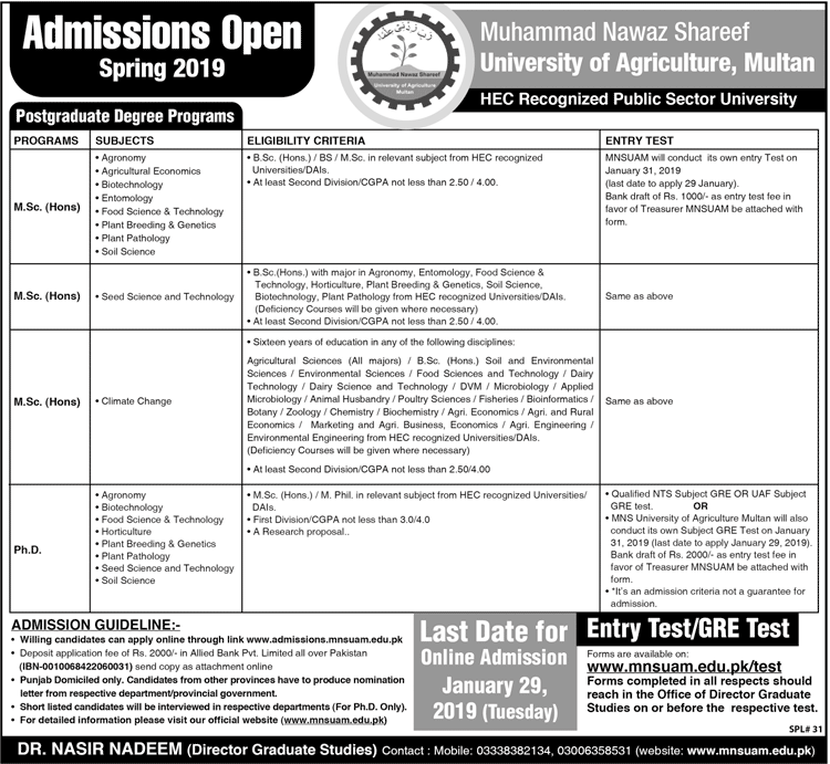 Muhammad Nawaz Sharif University of Agriculture Multan Admissions 2019
