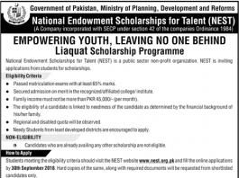 NEST Scholarship 2018 Application Form www.nest.org.pk Online