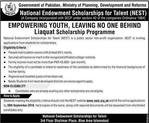 Nest Scholarship 2018 Application Form Www Nest Org Pk Online