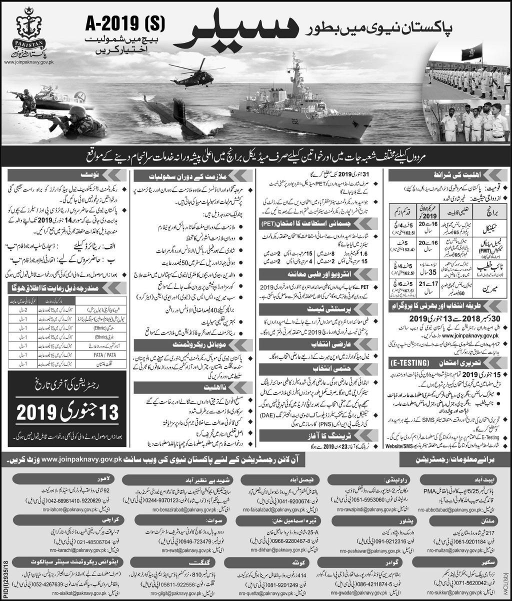 Pakistan Navy Sailor Jobs 2019 Registration Form