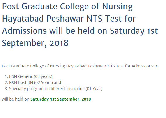 Post Graduate College of Nursing Peshawar Admission Test Result 2018