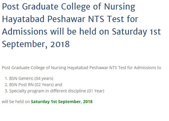Post Graduate College of Nursing Peshawar Admission Test Result 2018