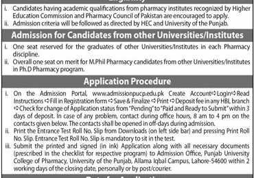 Punjab University College of Pharmacy M.Phil, PhD Admission 2021 Form
