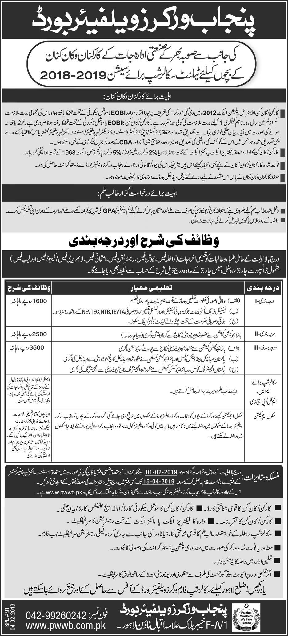 Punjab Workers Welfare Board Talent Scholarship 2019 Form