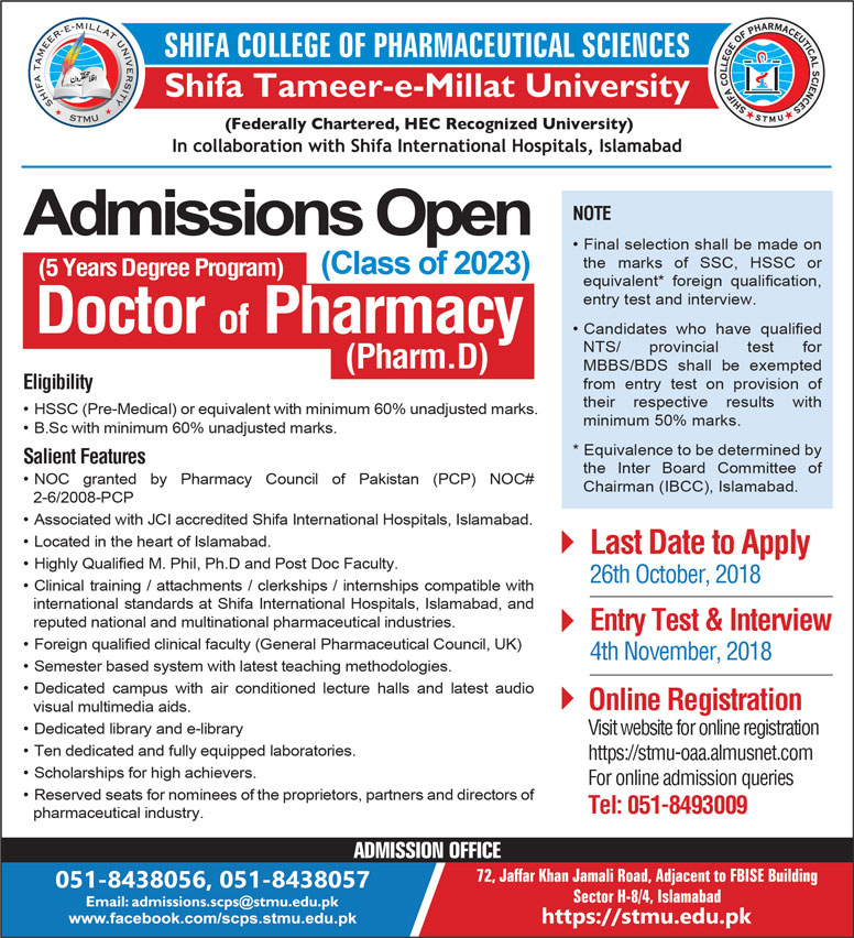 Shifa Tameer E Millat University Pharm D Admission 2018 Form Online Registration