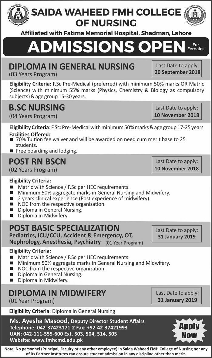 Syeda Waheed FMH College of Nursing Admission 2018 Form, Last Date