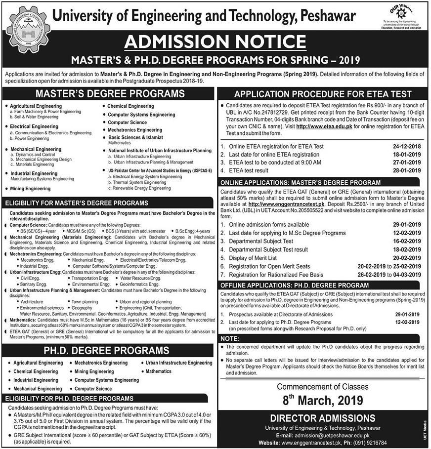 UET Peshawar Masters, PhD Admission 2019 Form