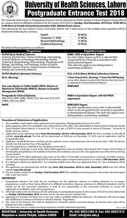 UHS Lahore Postgraduate Entry Test 2018