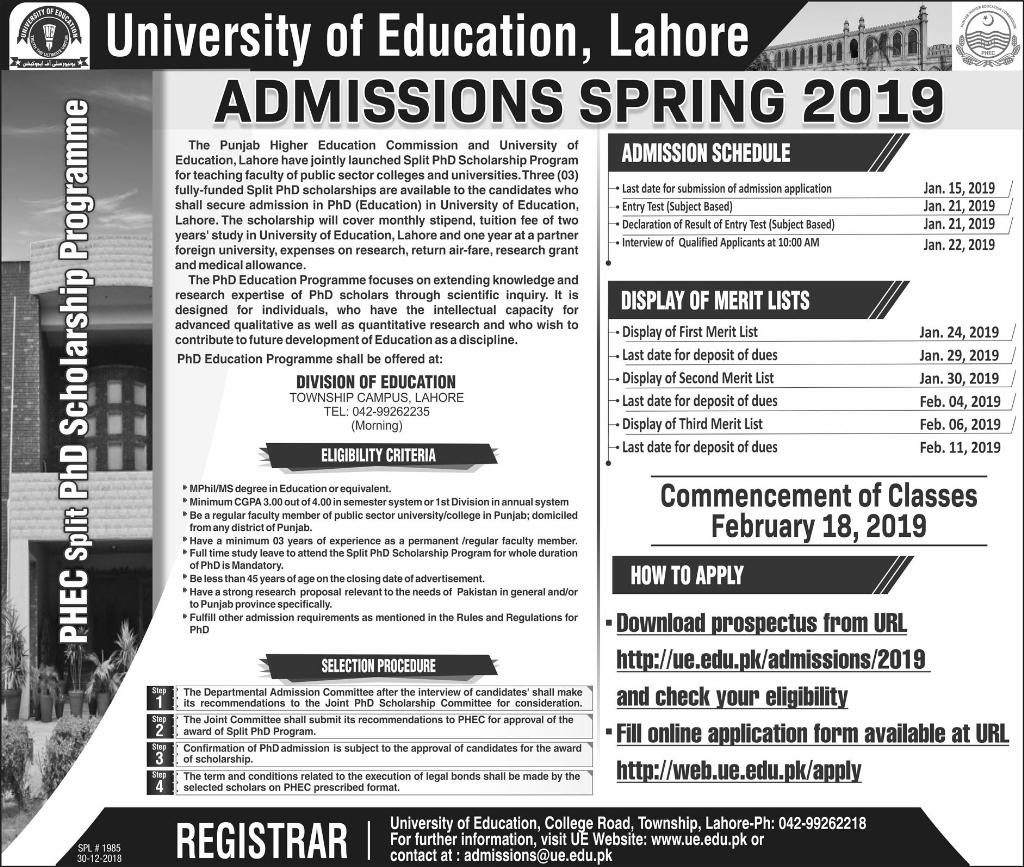 University of Education M Phil, PhD Education Admission 2019