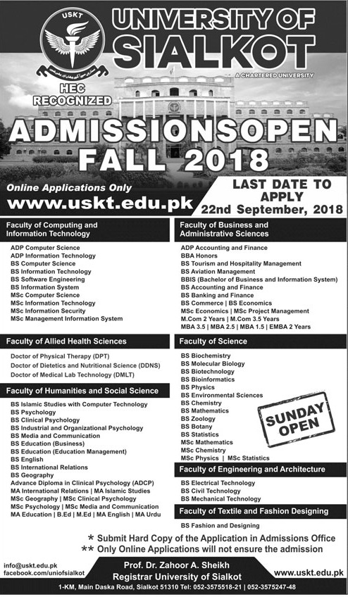 University of Sialkot Admission 2018 Form Apply Online Advertisement Last Date