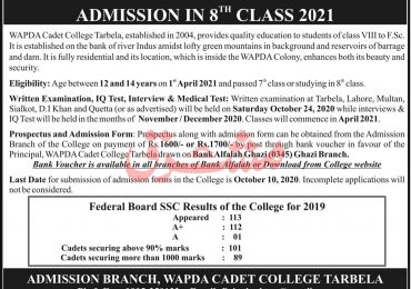 Wapda Cadet College Tarbela 8th Class Admission 2020
