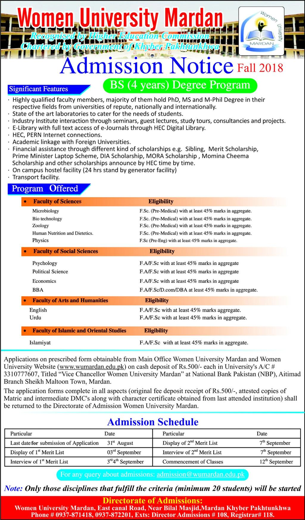 Women University Mardan Admission 2018 Form Merit List