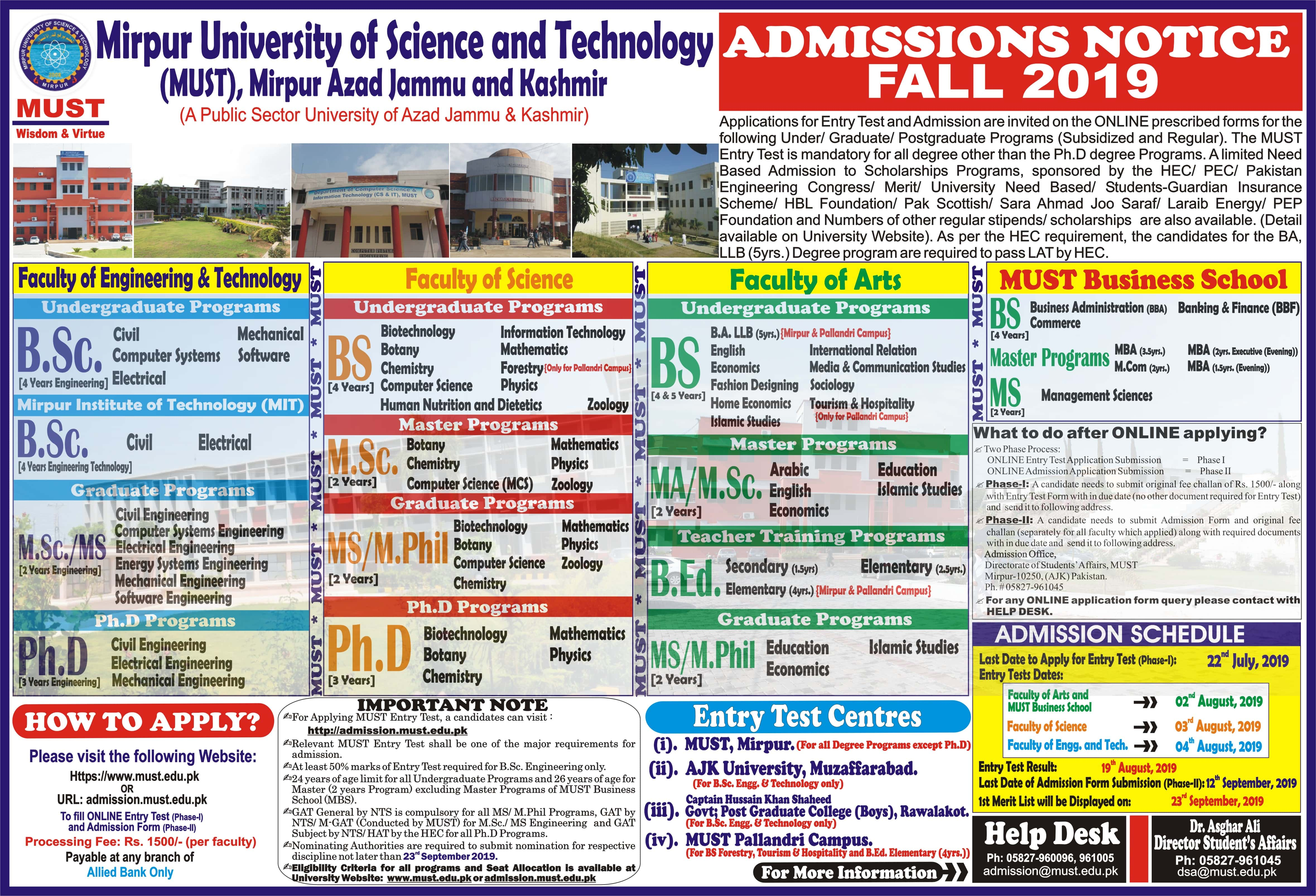 Mirpur University of Science & Technology MUST AJK Admissions 2019