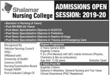 Shalamar Nursing College Lahore Admissions 2019-20 Form, Entry Test