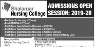 Shalamar Nursing College Lahore Admissions 2019-20 Form, Entry Test