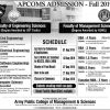Army Public College APCOMS Admission Fall 2019 Engineering Form Date