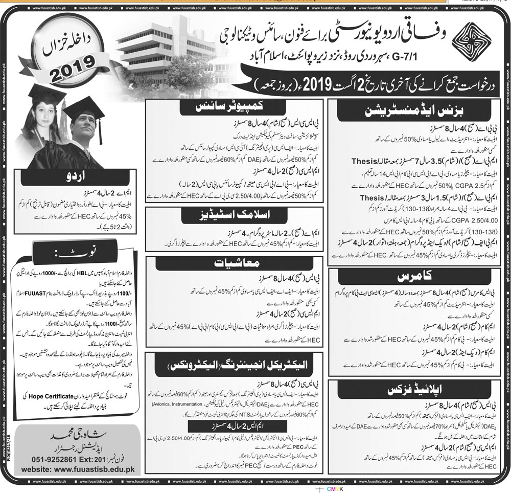 Federal Urdu University Islamabad Autumn Admission 2019 Last Date