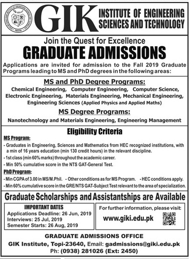GIKI Graduate MS, PhD Admissions 2019 Entry Test Date Result Form