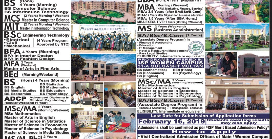 Institute of Southern Punjab ISP Multan Admission 2019