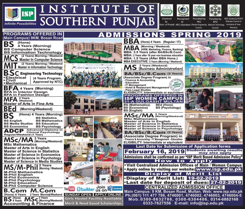 Institute of Southern Punjab ISP Multan Admission 2019
