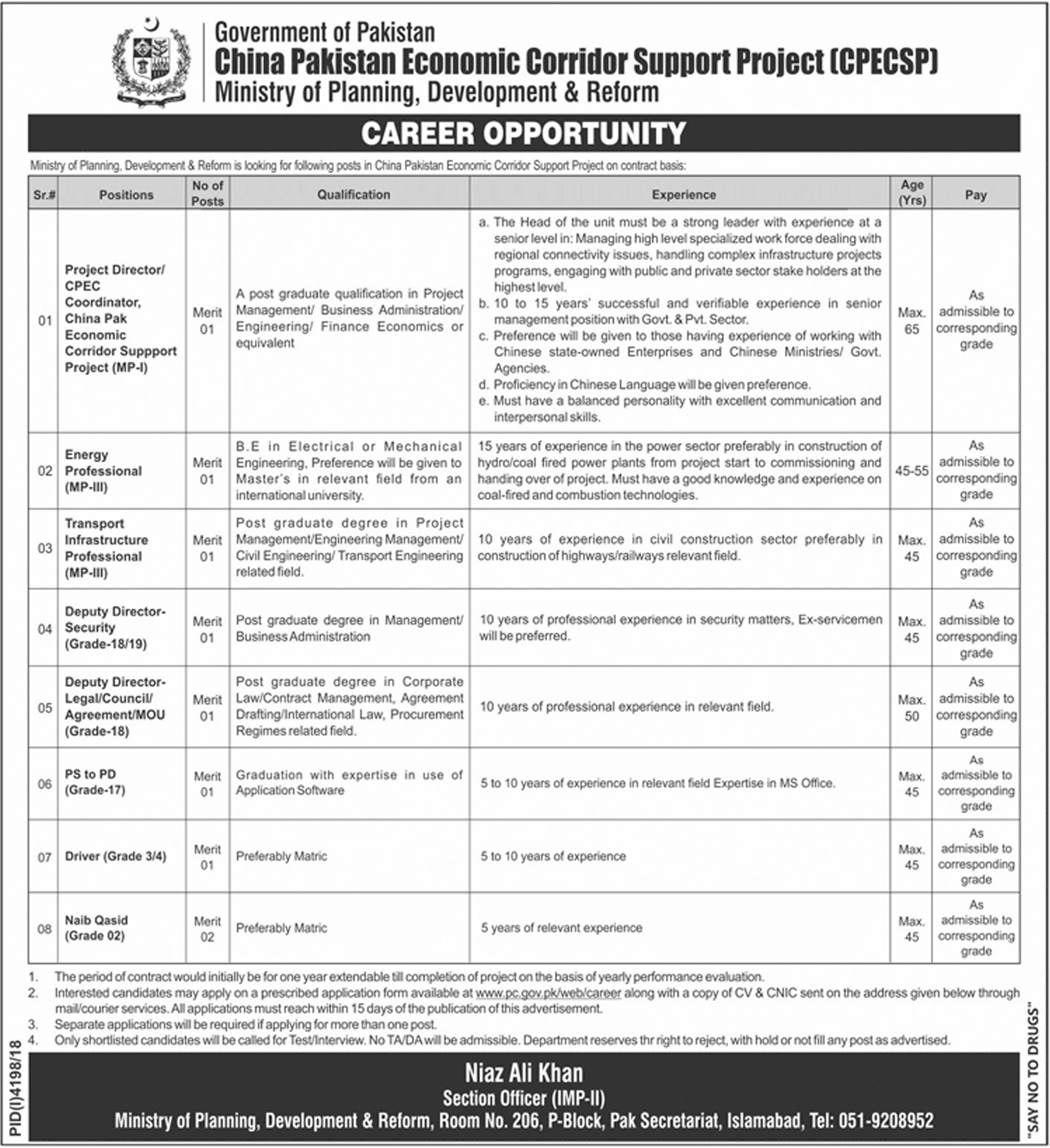 Latest CPEC Jobs 2019 In Pakistan Application Form