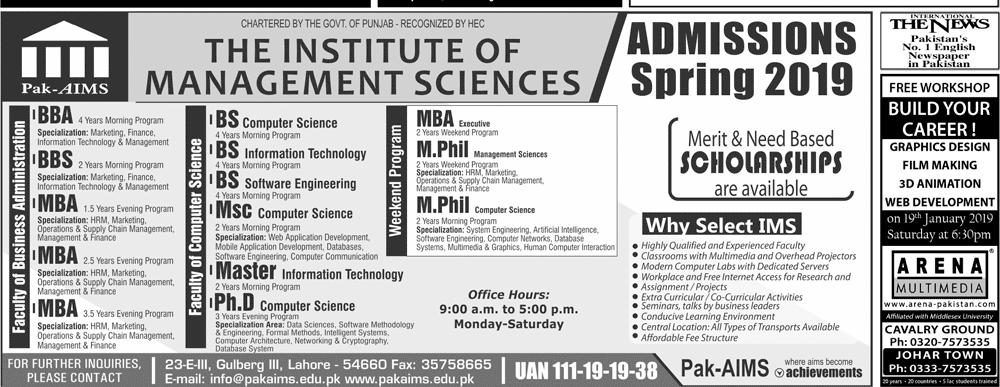Pak Aims Institute of Management Sciences Admission 2019