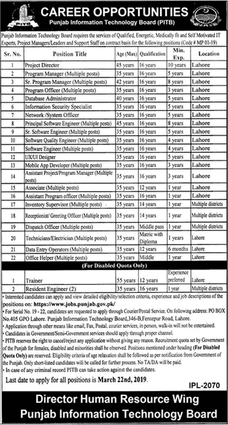 Punjab Information Technology Board PITB Jobs 2019 Apply Online