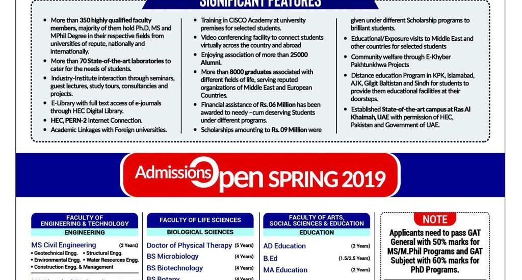 Sarhad University Peshawar Admission 2019 Form Last Date
