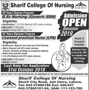 Sharif Medical College Of Nursing Lahore Admission 2018