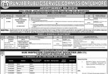 Sub Inspector Cooperative Societies PPSC Jobs 2018 Apply Online Advertisement