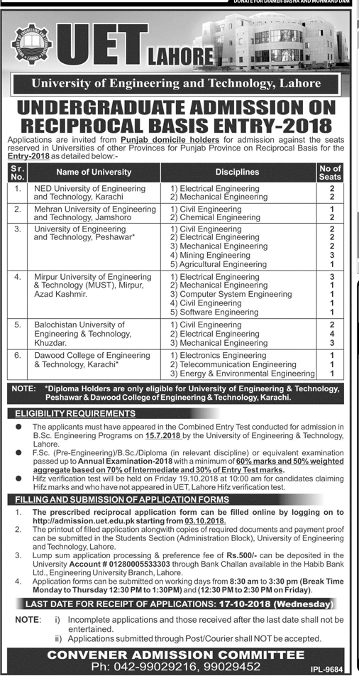 UET Lahore Reciprocal Seats Admission 2018