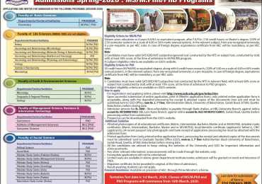 Balochistan University Quetta Admission 2020