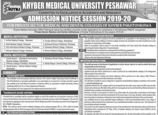 Frontier Medical College Abbottabad Admission 2019-20 For MBBS, BDS