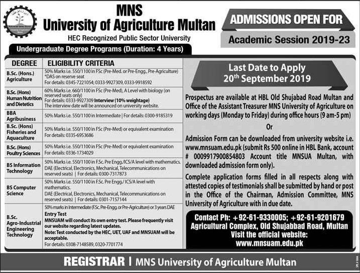 Muhammad Nawaz Sharif University of Agriculture Multan BSc Admission 2019