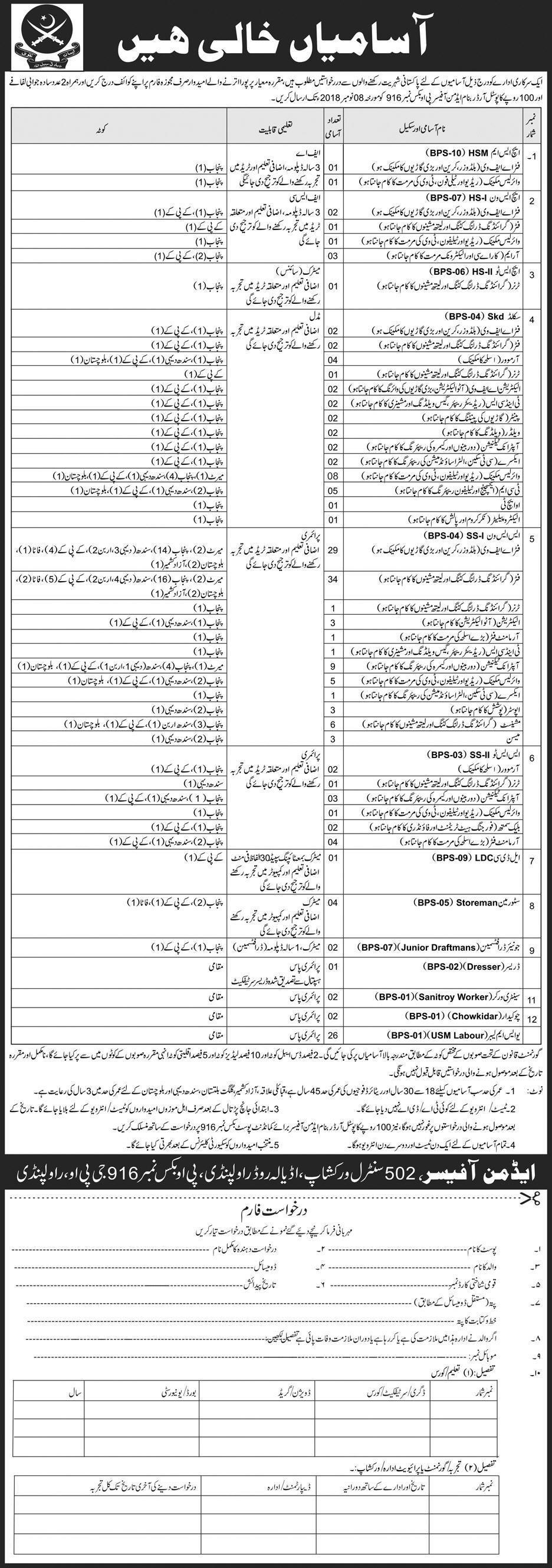 502 Workshop Rawalpindi Jobs 2018 Application Form Download502 Workshop Rawalpindi Jobs 2018 Application Form Download