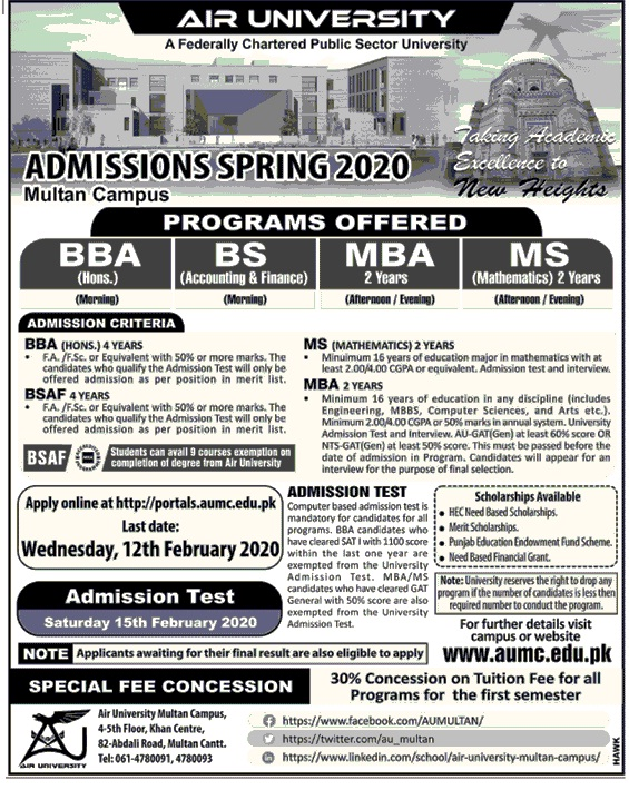 Air University Multan Campus Admission 2020 Form